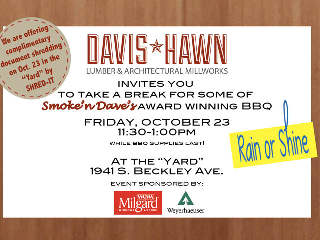 BBQ in the Yard this Friday, October 23rd. Rain or Shine!